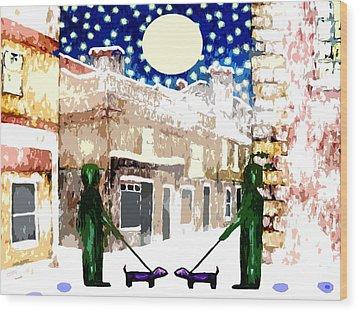 Snowy Night Wood Print by Patrick J Murphy