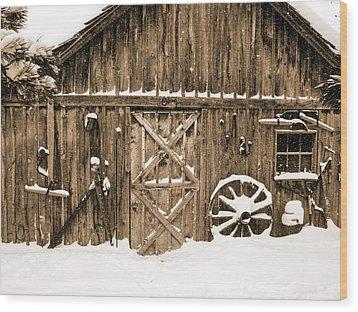 Snowy Old Barn Wood Print