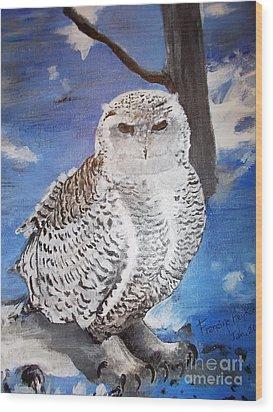 Snowy Owl . Wood Print by Francine Heykoop