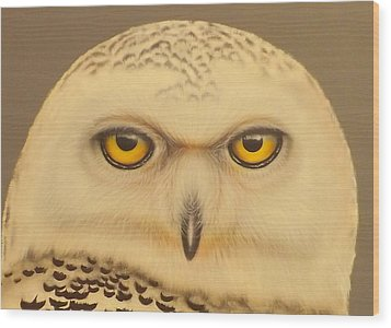 Wood Print featuring the painting Snowy Owl by Darren Robinson