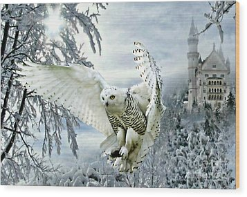 Wood Print featuring the mixed media Snowy Owl by Morag Bates
