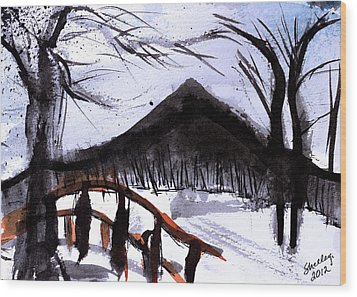Snowy Path Wood Print by Shelley Bain