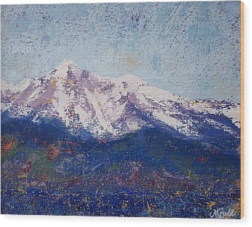 Wood Print featuring the painting Snowy Peaks by Margaret Bobb