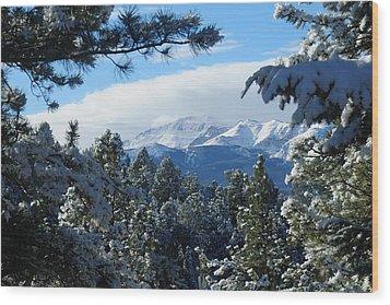 Snowy Pikes Peak Wood Print by Marilyn Burton