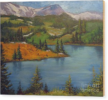 Wood Print featuring the painting Snowy Range by Carol Hart