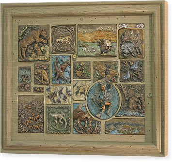 Wood Print featuring the sculpture Snowy Range Life - Large Panel by Dawn Senior-Trask