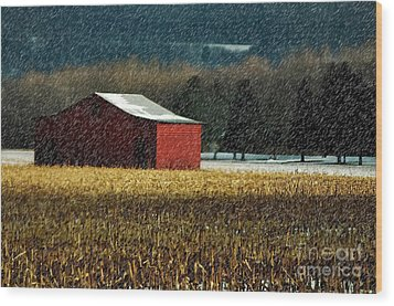 Snowy Red Barn In Winter Wood Print by Lois Bryan