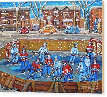Snowy Rink Hockey Game Montreal Memories Winter Street Scene Painting Carole Spandau Wood Print by Carole Spandau