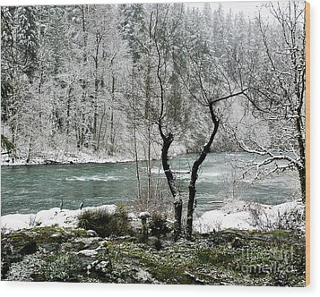 Snowy River And Bank Wood Print by Belinda Greb