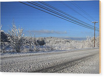 Snowy Roads Wood Print by Michael Mooney