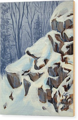Wood Print featuring the painting Snowy Rocks by Carol Hart