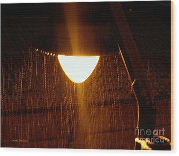 Snowy Street Lamp Wood Print by Ramona Matei