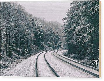 Snowy Travel Wood Print