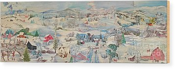 Snowy Village - Sold Wood Print by Judith Espinoza