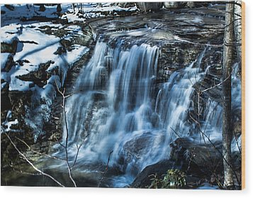 Snowy Waterfall Wood Print by Jahred Allen