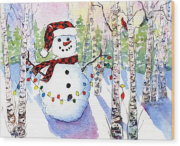 Snowy Wishes Wood Print