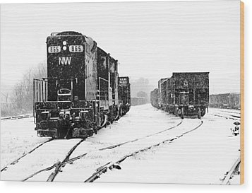 Wood Print featuring the photograph Snowy Yard by Mike Flynn
