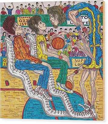 So You Wanna Play Ball Wood Print by Richard Hockett