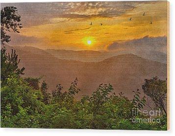 Soaring At Sunrise - Blue Ridge Parkway II Wood Print by Dan Carmichael