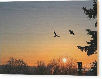 Soaring Sunrise 3 Wood Print by Jay Nodianos