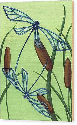 Soaring Through The Cat Tails Wood Print by Elaina  Wagner