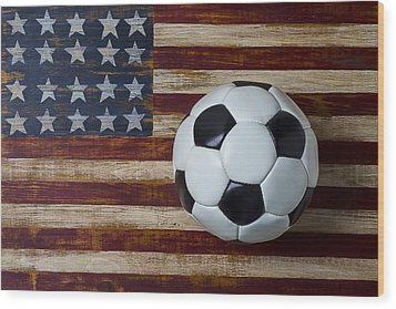 Soccer Ball And Stars And Stripes Wood Print