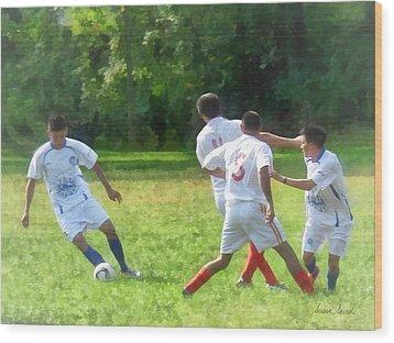 Soccer Ball In Play Wood Print by Susan Savad