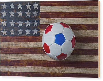Soccer Ball On American Flag Wood Print by Garry Gay