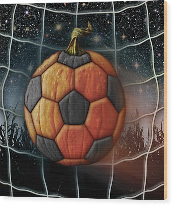 Soccer Ball Pumpkin Wood Print by James Larkin