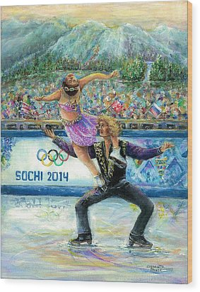 Sochi 2014 - Ice Dancing Wood Print by Bernadette Krupa