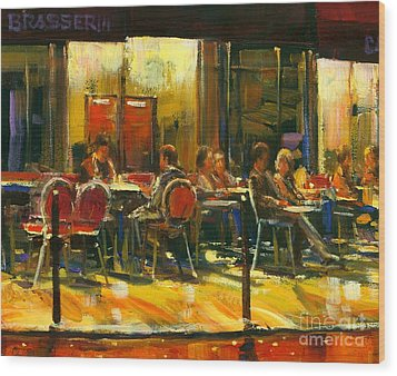Socializing Wood Print by Michael Swanson