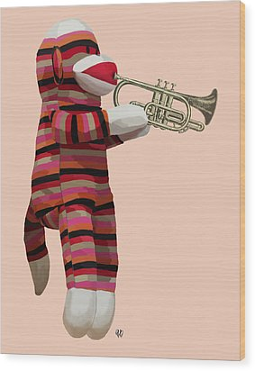 Sock Monkey And Trumpet Wood Print by Kelly McLaughlan