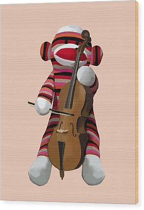 Sock Monkey With Cello Wood Print by Kelly McLaughlan
