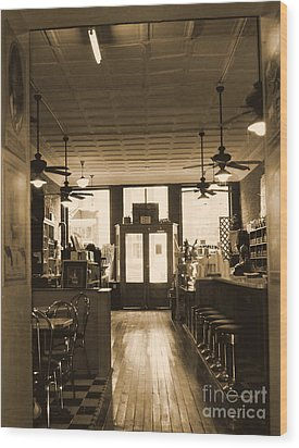 Soda Fountain And General Store Wood Print by Debra Crank