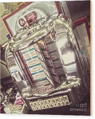 Soda Fountain Juke Box Wood Print by Gregory Dyer