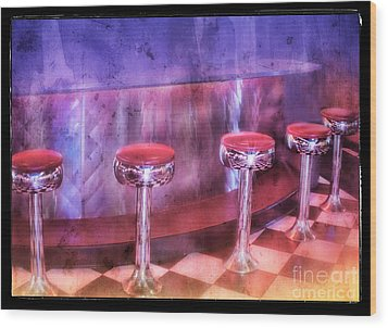 Soda Fountain Stools II Wood Print