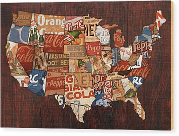 Soda Pop America Wood Print by Design Turnpike