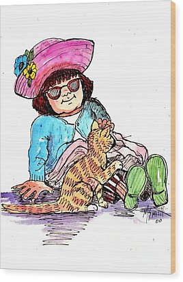 Sofie And Mittens Wood Print by Marilyn Smith