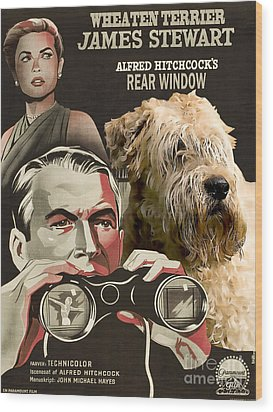 Soft-coated Wheaten Terrier  - Wheaten Terrier Art Canvas Print - Rear Window Movie Poster Wood Print