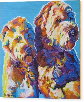 Soft Coated Wheaten Terrier - Max And Maggie Wood Print by Alicia VanNoy Call