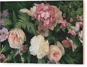 Soft Floral Bouquet In Pink Wood Print by Linda Phelps