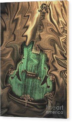 Soft Music Digital Guitar Art By Steven Langston Wood Print by Steven Lebron Langston