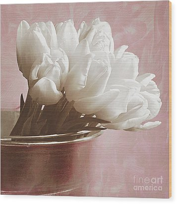 Soft Pink And White Wood Print by Billie-Jo Miller