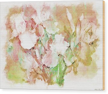 Soft Pink Iris Photo Art Wood Print by Debbie Portwood