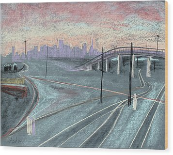 Soft Sunset Over San Francisco And Oakland Train Tracks Wood Print by Asha Carolyn Young