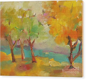 Wood Print featuring the painting Soft Trees by Michelle Abrams