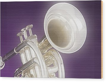 Soft Trumpet On Purple Wood Print by M K  Miller