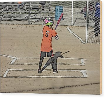 Wood Print featuring the photograph Softball Star by Michael Porchik
