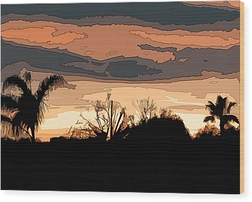 Wood Print featuring the digital art Solana Beach Sunset 2 by Kirt Tisdale