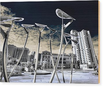 Solar City Wood Print by Wayne Sherriff